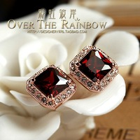 Fashion elegant princess zircon inlaying stud earring female accessories stud earring