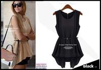 Free shipping Europe and America 2014 new summer Korean wild chiffon shirt women fake two different models  1340 Belt
