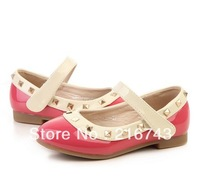2014 girls dress shoes female child spring and autumn rivet shoes children shoes girls shoes flats pink ,red ,black