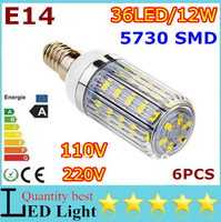 6x High Power Mini E14 E27 G9 GU10 B22 5730 SMD LED Corn Bulbs 36leds 12W White/Warm White AC110-120V/220V-240V Free shipping