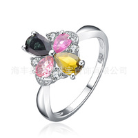 100% Guaranteed Genuine 925 Sterling Silver Ring Real Natural Tourmaline Female Rose Gold Platinum Plated Wedding Jewelry