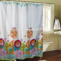 A variety of styles Bathroom curtain terylene cloth child real printed shower curtain 180*180cm 12 cartoon little lion