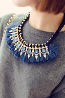 Wholesale or Retail-European Style Gold Plated Metal Silk Ribbon Chain Blue Crystal Rhinestone Tassels Pendant Necklace