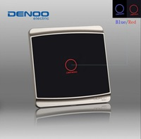 2013 Fashion 220v Knight black 1 gang 2 way wall light touch switch with LED indicator, tempered glass panel