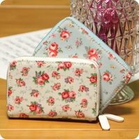 Free shipping high quality new arrival Sweet flower fashion vintage hand-rope zipper short design women's small wallet