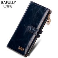 brand wallet women        Wax   genuine leather   vintage    clutch purse  female   wallets carteira feminina billeteras