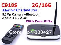 CS918S Andriod 4.2 Smart TV Box Quad Core 2GB RAM 16GB ROM Built in 5.0MP Camera XBMC Bluetooth 3G 4K WIFI Android TV Box