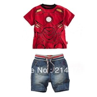 Free shipping,Children's clothing sets summer baby boy's 2pieces suit set superman short-sleeve T-shirt +jeans short 5sets/lot