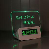 Free Shipping Green LED Fluorescent Message Board Digital Alarm Clock Hub Calendar Night light 95257