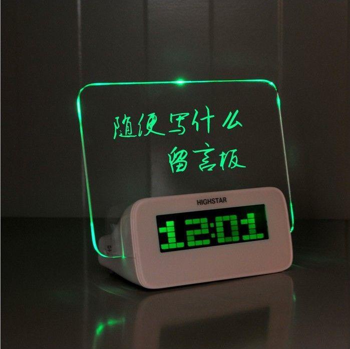 Free Shipping Green LED Fluorescent Message Board Digital Alarm Clock Hub Calendar Night light 95257(China (Mainland))