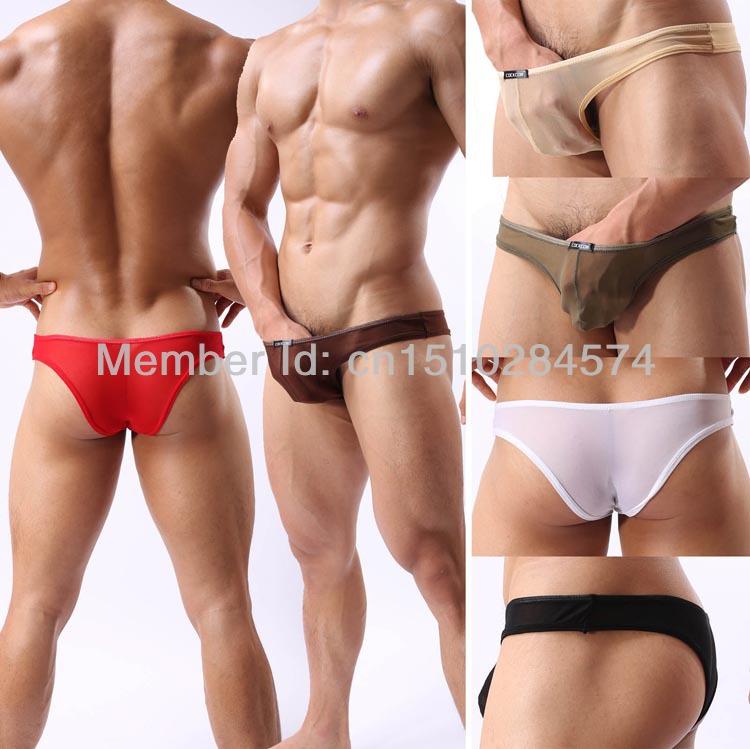 men briefs Sexy Hot Colorful Men's Underwear See Through Mesh Bikini Brief Underwear Bulge Bikinis Briefs MU347(China (Mainland))
