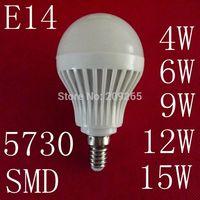 10pcs/lot LED lamps E14 4W 6W 9W 12W 15W 5730SMD led lights cold white/warm white AC220V led bulb