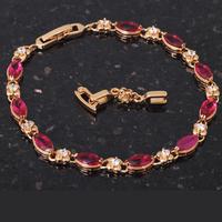 Ruby design 18K k Gold Plated Bracelets Style AAA Zircon & Rose Crystal Health Nickel & Lead free Fashion jewelry TB290
