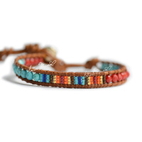 Lotusmann coral turquoise color block decoration beads single-circle bracelet