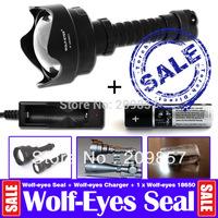 Hunter Flashlight Wolf-eyes Seal Lens 1210Lm L2 LED 6 Modes Super Long Beam Range + Wolf Eyes Charger + Wolfeyes 18650