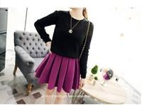 2014 autumn women's woolen high waist pleated short skirt princess female bust skirt free shipping