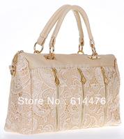 Free shipping 50PCS/Lot New Fashion Women's Lady Retro Lace Handbag PU (Faux) Leather Designer Tote Crossbody Shoulder Bag