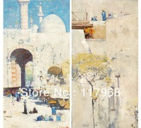 LIFE IN INDIA, 2 Panels Combination Canvas Paintings, Wall Hanging Home Decorative Frameless Scenery Paintings