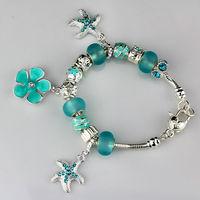 2014 New Fashion silver chaim Bracelets for Women&girl. Blue crystal beads bracelets jewelry wholesale. free shipping