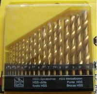 19pcs 1-10mm HSS-TiN HSS Titanium coated twist drill bit set DIN 338, Hole Boring Bits, Drilling tool kit, Free shipping