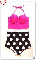 2015 new Vintage Pin Up High Waisted Pink Top Bottom Bikini Sets  Polka Dot brazilian bikini retro swimsuit print bikinis set