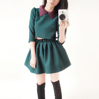 Silk vintage peter pan collar dark green set