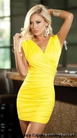 2014 summer women v-neck short sleeveless backless yellow black Sexy dress bodycon bandage women vestidos E88