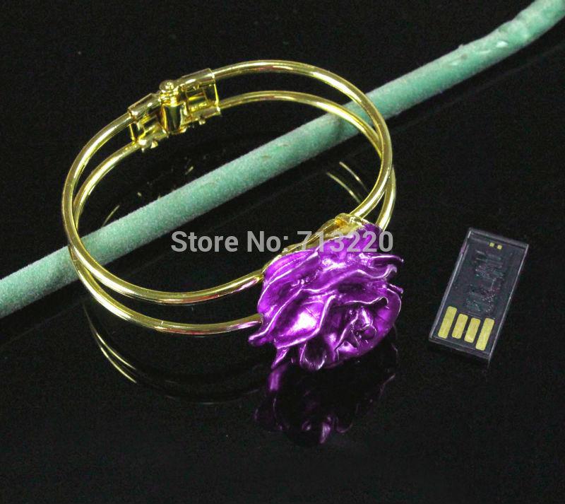 Cute Beautiful Rose Jewelry Bracelet USB Drive 4GB 8GB 16GB 32GB USB 2.0 Flash Pen Drive Memory Stick Brand New Good Quality(China (Mainland))