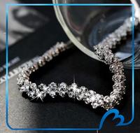 New fashion Romantic cubic zircon bracelets silver plated charm bridal wedding/Valentine's Day bracelets pulseiras for women