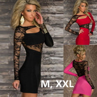 2014 new fashion cheap sexy club dresses long sleeve hollow out lace lace one shoulder irregular mini dress plus size