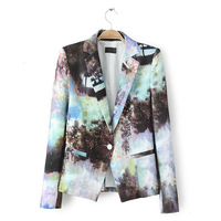 2014 New Fashion Casual One Button Blazers Slim Foldable Sleeve Brand blaser Jackets Coat