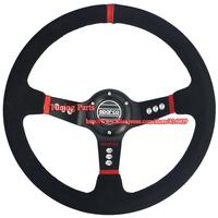 350mm  Steering Wheel 90mm Dish Car Steering Wheel Universal Suede Steering Wheel