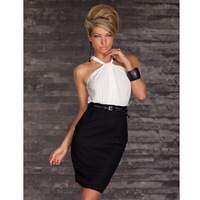 Vintage Sexy Mini Sheath Dress Causal Color Matching Sleeveless Slim-fitting Women dresses
