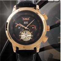 Winner Jaragar Luxury Brand Automatic Mechanical Watch Men 6 Hands Mens Leather Strap Date Tourbillon Wristwatch Relogio