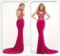 Free shipping CW1536 Hot pink short sleeve beaded high neck mermaid fishtail elegant full figure evening dresses