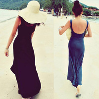 Black/Blue/pink/khaki/gray New 2014 Beach sexy O-neck Backless Ankle-length dress spaghetti strap sleeveless casual cloth