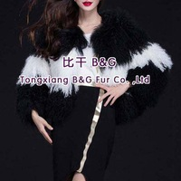BG29681  Natural Full Pelt Lam Fur Jacket Wholesale Retail Long hair Sheep Fur Outwear Natural Sheep Fur Jackets Ladies