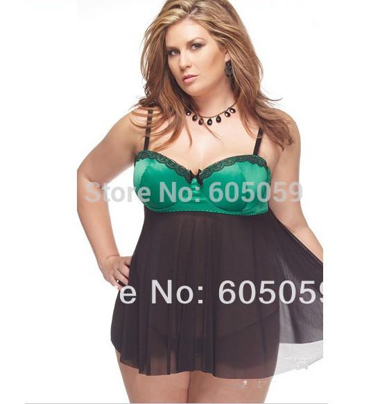 UL378 plus size XXXL green with black braces skirt baby dolls women