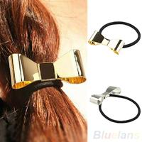 Hair Accessories Fashion Punk Polish Metal Bow Tie Hair Band Cuff Wrap Pony Tail Holder Headband 06M9