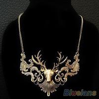 Hot Sale Retro Bronze Antique Silver Deer Head Necklace & Pendants Great Gift 06NU