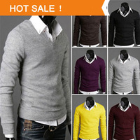 High Quality Casual Sweater Men Pullovers 2014 Brand Spring Autumn Knitting long sleeve V-neck Knitwear Sweaters Plus size XXL