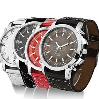 2014 New Fashion Luminous Men Watches Male Faux Leather Oversized Quartz Hands Wrist Watch Vintage Style Wristwatch 06FF