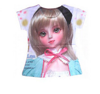 2014 New Summer Beautiful Girl T-shirts Short sleeve Princess girls shirts girl blouses Baby Clothes shirt for kids