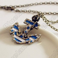 Vintage Marine Era Retro Rose Anchor Created Diamond Pendant Long Necklace Sweater Chains 0692