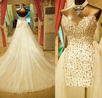 2014 Real Sample Crystal Sweetheart Strapless Short Front Long Back Wedding Bridal Dress Gowns Chapel Train W1973