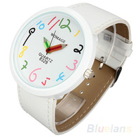 2014 Womage Brand Women Big Case Pointer Girls Leather Strap Quartz White Pencil Wrist Watch 05XX