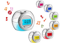 Free Shipping Wholesales Crystal 7 Colors Changing w/ Natural Sound LED Light Digital Alarm Clock Calendar Date Thermometer