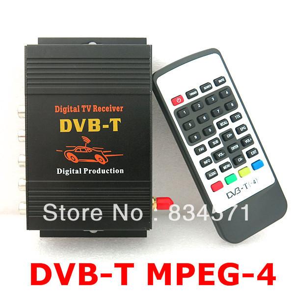 Car DVB-T DVBT MPEG-4 HD tuner Digital TV receiver box Single Antenna for European Free shipping Drop Shipping(China (Mainland))