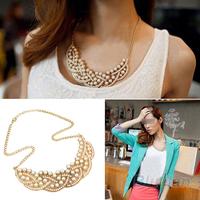 2013 Wholesale Hot Design Fashion Pearl Hollowed Golden Choker Bib Collar Necklace Pendant Women Female 06OZ