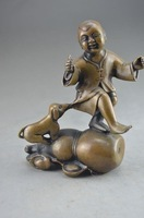 Crafts Free shipping Chinese bronze statue - children and dogs frolic
